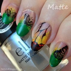 Glasswing Butterfly Nail Art Matte