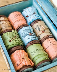 Hand Dyed and Stamped Ribbons on Spools
