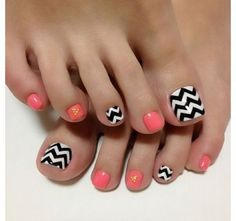 Coral Pedicure With Black & White Chevron Design!  Come to Luxury Spa & Nails for all of your pampering needs! Call (803) 731-2122 or visit www.luxuryspaandnails.weebly.com for more information! pink nails, pedicur, nail designs, nail arts, black white, summer nails, toenail, toes, chevron nails