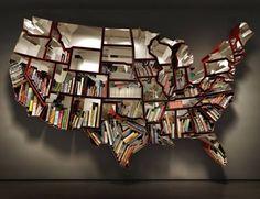 U S Map bookshelf
