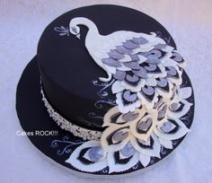 Silver & White Peacock on Black - by CakesRock @ CakesDecor.com - cake decorating website