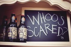 Whoo's Scared? Must-do sign at the Halloween Party