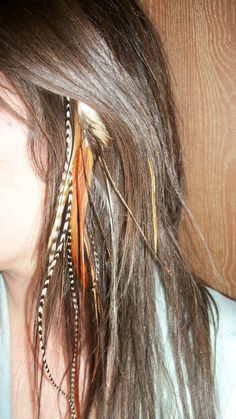 "My next ""hair"" idea after I get tired of the blue peek-a-boo highlights...feather extensions!"