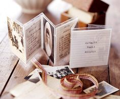 Accordion photo gift tag: A meaningful tag makes a gift more special. To assemble this homespun version, gather a grouping of old family photos and recipe cards. Mix and match and place in a row. Laminate them, leaving enough space between the cards for folding accordion-style.