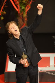 Macca is the No. 1 songwriter. Paul McCartney celebrates his Songwriter's Songwriter Award at the NME Awards 2014 on Feb. 26 in London