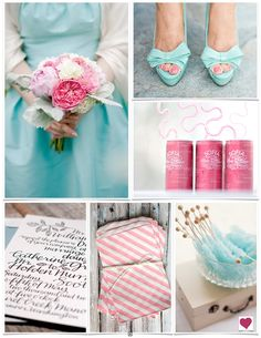 Pink + Aqua Blue Wedding Inspiration Board