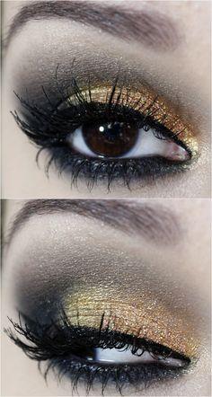 Passo a passo maquiagem dourada e preto - tudo make 09