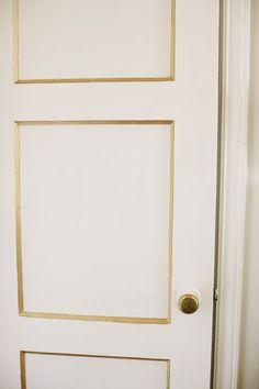 gold trim, black doors, design interiors, architecture interiors, trim door, hous, painted doors, interior doors, bedroom