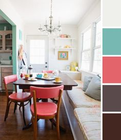 bright colors with dark accents, coral and soft turquoise