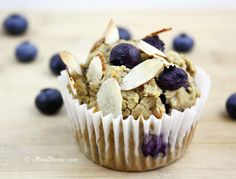 Healthy Blueberry Lemon Muffins by chowdivine: Moist and tasty! #Muffins #Gluten_Free #Blueberry #Lemon