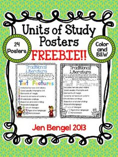 FREEBIE! Units of Study posters featuring text features and genre definitions.  The posters are available in color and B  There are also blank versions for students to complete!