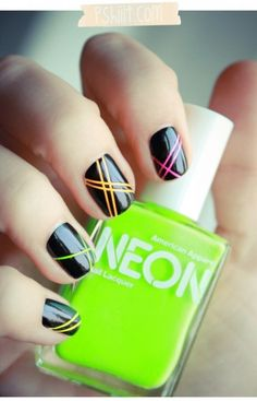 Neon and black nails.    This is amazing.