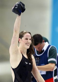 Swimming: Day 7 Finals - Swimming Missy Franklin reacts after winning the women's 200m backstroke final