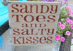 Beach Sign Sandy Toes Salty Kisses TAN Nautical Baby Nursery and Coastal Decor. $28.50, via Etsy.