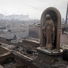 The Blessed Mother stayed through the winds, rain and fire to watch over Her children  #HurricaneSandy #Virgin #God #Christianity #Catholic #photos