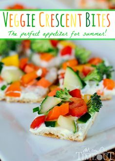 Veggie Crescent Bites from MomOnTimeout.com | Full of flavor and crunch - these little bites are sure to please!
