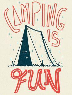adventur, outdoor prints, outdoor fun art, camper, art prints, camp idea, camping art, camping rain, camping illustration