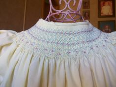 SweetHeart. Yellow Bishop Dress with light blue and pink smocking. light blue, bishop dress