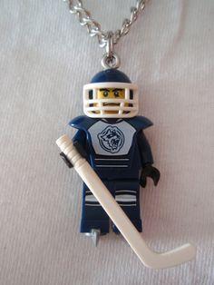 Custom LEGO Ice Hockey Player with Hockey Stick Necklace
