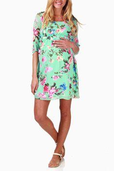Mint Green Floral Chiffon Maternity Dress #maternity #fashion