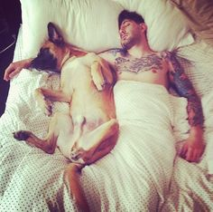 tattoo guy, dogs, dog lovers, beard, german shepherds, snuggl, dream guy, tattooed guys, dog tattoos