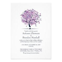 Fall Wedding Purple Tree and Leaves