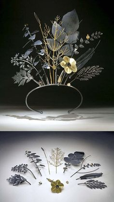 """Jan Yager's """"Tiara of Useful Knowledge. City Flora: The Philadelphia Series (2006)"""" and is made of oxidized sterling silver, 18K and 14K gold.  Each piece of the tiara transforms, coming off to become a separate entity --- brooch, tie tac, pendants...  and each represents a specific plant as well: (Left to Right, Back to Front) Common Ragweed, Sweet Clover, Lamb's Quarters, Plantain, Switch Grass, Potato, Rye, Prickly Lettuce, Crab Grass, Ant, Tobacco, Pebble."""