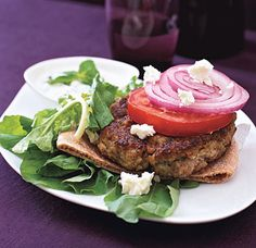 Greek Burger with Arugula, Tomatoes & Feta   Epicurious