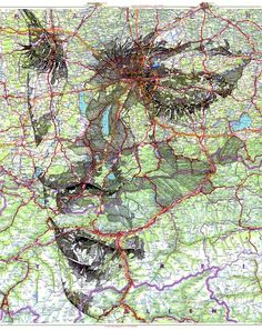 Brilliant face portraits on maps by Ed Fairburn