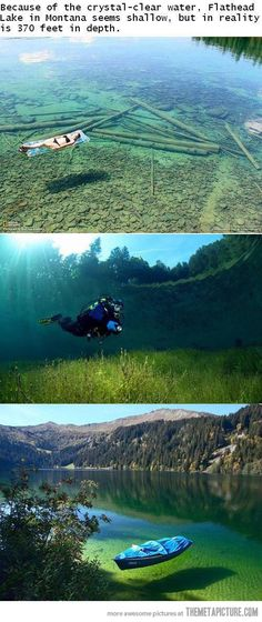 Flathead Lake in Montana. Crazy clear. Must do. Like I need another reason to love MT