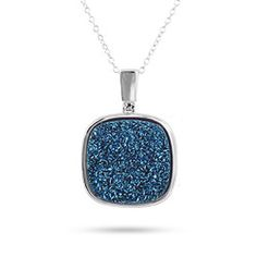 Sterling Silver Cushion Cut Blue Drusy Necklace $104
