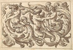 Horizontal Panel design w/ three Young Male figures Interspersed between Acanthus Rinceaux ~ 17th century Venetian drawing