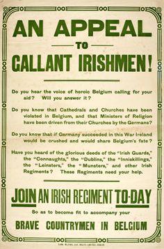WW1 Irish recruiting poster