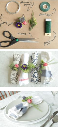 #DIY: How to Make #Floral Napkin Rings - #Mothersday