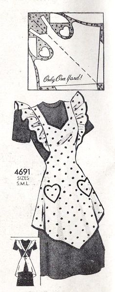 1940s Misses Full Apron with Heart Pockets