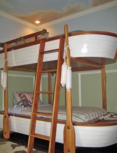 Bunk Beds - keep some wood natural and paint some white