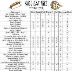Kids eat free in NWA
