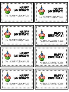 Birthday No Homework Pass FREEBIE