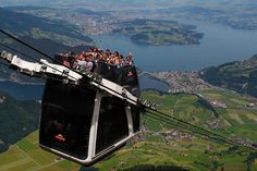World's first open-air double decker cable car system on Stanserhorn mountain, Switzerland