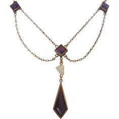 Vintage Late Victorian Amethyst Glass and  Cultured Pearl Festoon Lavalier Necklace
