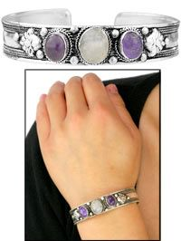 Amethyst & Moonstone Silver Bangle Bracelet