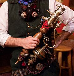 Steampunk Weapon: the Brass and Wood Raygun. $1,550.00, via Etsy.