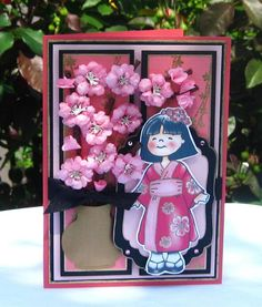 handmade card by fredshesaid .... sweet image of little girl in kimono ... dimensional fluffy cherry/plum blossoms ... like it!