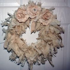 Tea Stained Bulap and Muslin Wreath ~ the Muslin flowers were Pinterest Inspired by the Shabby Art boutique.