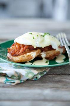 Paula Deen Fried Green Tomato & Egg Hollandaise