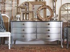 Silver Curved Front Buffet or Dresser Matching by noteworthyhome Mirrored Furniture, Dresser, Changing Table, Media Console, Painted Furniture, Silver Metallic