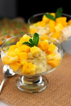 ... with a tropical fruit compote of pineapple,mango, ginger, and lime
