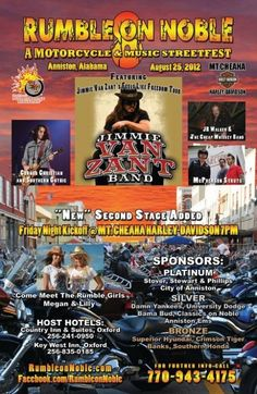 SCHEDULE IS SET!!! Rumble on Noble Motorcycle and Music Streetfest