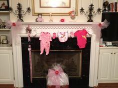 clotheslines, baby shower decorations, girl baby showers, onesi, baby decorations party, bib, mantl, babi shower, banner