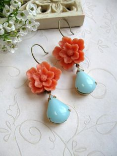 Valerie - Orange flower earrings vintage blue glass by botanicalbird on Etsy